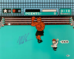 Mike Tyson Punch Out Signed 16x20 Boxing Photo Auto Beckett BAS COA