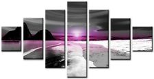7 Panel Total Size 160x90cm Large ABSTRACT  ART CANVAS  Quality Flax Plum