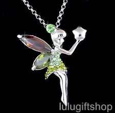 18K WHITE GOLD PLATED TINKER BELL FAIRY PENDANT NECKLACE USE SWAROVSKI CRYSTAL