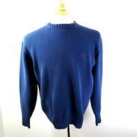 Polo Ralph Lauren Mens Crew Neck Sweater Sz L Blue Heavy Cotton Vintage 80's