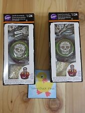 Wilton Cupcake Decorating Kit 2 Pks of 24 DAY OF THE DEAD SKULLS Picks Sprinkles