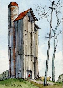 """Quirky Barn ACEO 2.5""""x3.5"""" Original Watercolor Peter Sheeler rural farm shadows"""