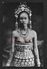 Dayak Woman rppc Costume Tattoo Borneo Malaysia 1936