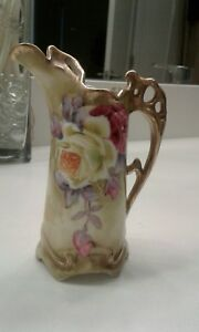 NIPPON Antique Footed EWER Artist Painted Designed Pink/ Yellow ROSES SIGNED