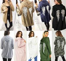 Ladies Womens Free Soul Sequin Angel Wings Longline Hooded Cardigan Jacket
