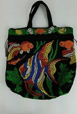 Large Beaded Purse w Bright colored Fish Angelfish drawstring bsh