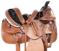 HAND CARVED RANCH ROPING ROPER TRAIL WESTERN LEATHER HORSE SADDLE TACK 15 16