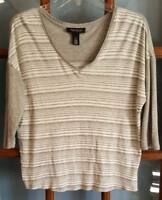Womens Sz S White House Black Market Casual Gray Pullover Top V-Neck 3/4 Sleeve