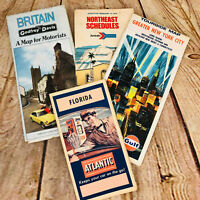 4 Vtg Travel Road Maps Tourist Guides AMTrack Schedule Booklets gas station