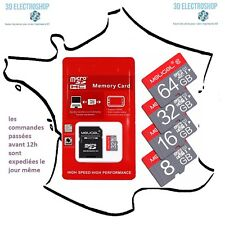 Carte micro SD 4, 8, 16 ou 32 GB class 10 avec adaptateur
