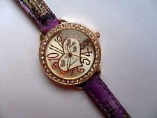 Smart Ladies Heart and  Crystal Quartz Watch  Patterned Thin Strap