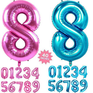 """40"""" Foil Number Self Inflating Balloons Giant Birthday Age Party Wedding Balloon"""