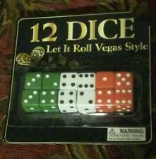 "7 total set12-PK OF DICE NEW IN PACKAGE EACH SIDE IS ABOUT 1/2"" RED WHITE GREEN"