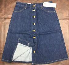 New Levi's Levis Jeans 8 Button Fly Front A-Line Skirt Blue Denim Skirt SZ 30
