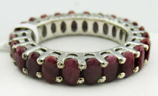 GENUINE 12.64 Cts RUBIES ETERNITY RING .925 Sterling Silver * New With Tag