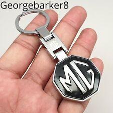 Black MG Logo mgmanialtd.com MGF MG F Genuine Leather Keyfob Keyring  Chrome