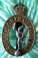 Royal Corps of Signals Cap Badge KC Bi-Metal BRASS Slider ANTIQUE Original