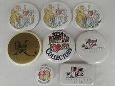 Vtg Lot of 8 Promotional Lilliput Lane Land of Legend Pin-Back Buttons Signed