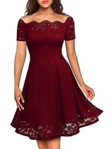 Womens Off Shoulder Short Sleeve Lace Up Dress Cocktail Party Ball Gown Evening