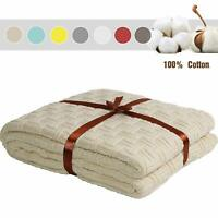 "100% Cotton Knitted Throw Blanket 51""x70"" Sleeping Cover for Sofa Bed Car Chair"