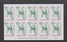 Norfolk Island - 2001, 5c x 10 Green Parrot Booklet Pane - MNH - SG 747