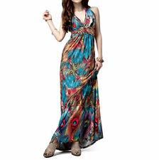 Womens Ladies  Fashion Flaming Peacock Feather Print Empire Waist Maxi Dress