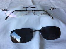 Silhouette M 7551 Unisex Titanium Rimless Glasses with Polarized sunclip