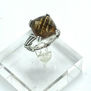 Peter Thomas Roth Whiskey Quartz 925 Silver Ring Ribbon Reed Collection size 7
