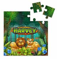 Personalised Square Wooden Jigsaw Puzzle Any Text Jungle Theme 24 Piece Gift 32