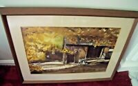 VINTAGE AUTUMN STABLE Watercolor PAINTING Signed MARY BUCKLEY Framed BARN RANCH