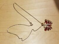 "STERLING SILVER 925 Necklace, 18"", RED JASPER"