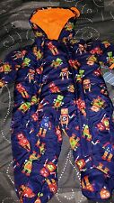 baby boy snowsuit outerwear blue robots 3-6 months new hooded footed