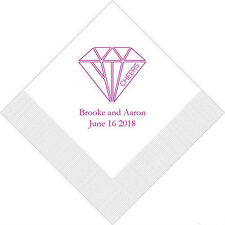 500 Cheers Geometric Diamond Personalized Wedding Cocktail Napkins