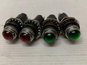 Dash Warning Light Red x 2 Green x 2 Hot Rod Rat Rod Industrial 5/8 12V NOS
