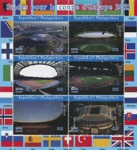 Madagascar 2021 CTO Football Stamps Euro 2020 Stadiums Soccer Sports 6v M/S