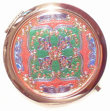 Red multi Make-up Mirror Compact 70 mm Chrome New Free Delivery