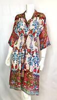 💕Johnny Was IRON ROSE Scarf Print Kimono Silk Tassel Tie V Neck Dress XS $315