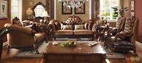 Dresden Traditional Cherry Oak Golden Brown Velvet 3 pc. Formal Living Room Set