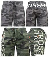 Mens Crosshatch Designer Swim Shorts CAMO Mesh Lined Casual Beach Swimming Trunk