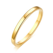 2mm Thin Stackable Ring Stainless Steel Plain Band for Women Girl Size 3-10