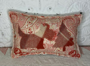 NEW Handmade Scottie Dog & Christmas Tree Pillow  English Quilt  Old Chenille