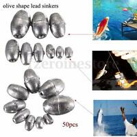 50 Pcs Metal Olive Shape Leads Sinkers Pure Lead Fishing Sinker Weights All Size