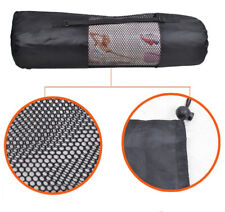 Black Yoga Mat Bag Exercise Fitness Carrier Nylon Mesh Washable Adjustable Strap