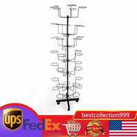 7 Tier Rotating Hat Display Rack Free Standing Metal Floor Caps Headwear Stand