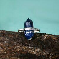 Terminated Pencil Lapis Lazuli Gemstone Ring 925 Sterling Silver Jewelry