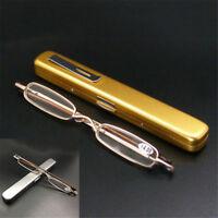 Ultra Slim Mini Metal Reading Glasses Presbyopic Eyeglasses +1.5 +2.0 +2.5 +3.0