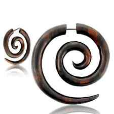 PAIR SUPER SPIRALS SONO WOOD FAKE EXPANDER CHEATER 18G PLUGS FAKES PLUG Gauges