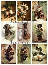 Vintage Christmas Dogs Playing 9 Small Prints on Fabric Quilting Sewing FB 577