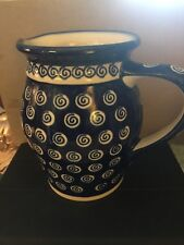 "Boleslawieg Polish Pottery Cobalt Blue & White Swirl Pattern 6.75"" Pitcher Handm"
