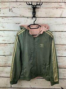 ADIDAS Womens Hoodie Jacket 12 Green Pink Polyester Originals Reversible